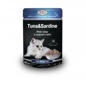 Gina Cat Tuna and Sardine консервы для кошек, филе тунца и сардины в желе, пауч 85 г